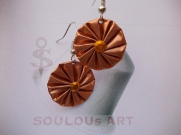 Ohrhänger ♥ Rosette orange silber Nespresso - Kapsel Schmuck upcycling - Handarbeit kaufen