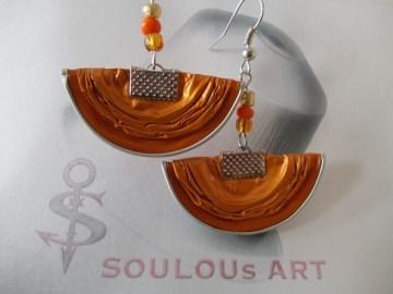Ohrhänger ♥ Halbmond orange silber Nespresso - Kapsel Schmuck upcycling - Handarbeit kaufen