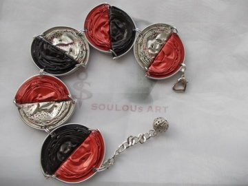 Armband ♥ Twohalfs hellrot anthrazit silber Nespresso - Kapsel Schmuck upcycling  - Handarbeit kaufen