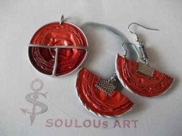 Set  Anhänger und Ohrhänger ♥ Halbmond rot  silber Nespresso - Kapsel Schmuck upcycling - Handarbeit kaufen