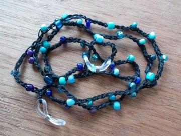 Brillenband Brillenkette  Perlenbrillenband ♥ *schwarz/türkis*
