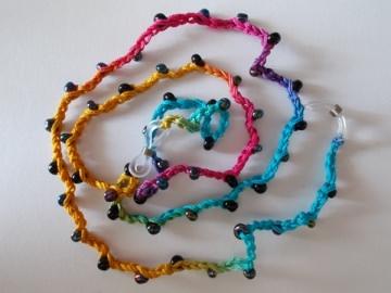 Brillenband Brillenkette  Perlenbrillenband ♥ *regenbogen/schwarz* - Handarbeit kaufen
