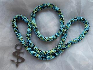 Schmuckset = Halskette & Armband Perlenkette Glasperlen Rocailles ♥ *Salz & Pfeffer* hellblau - Handarbeit kaufen