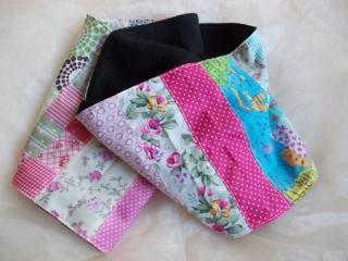 Schal  ♥ wunderschöner Schlauchschal LOOP-Schal buntes Patchwork schwarzer Fleece handarbeit genäht - Handarbeit kaufen
