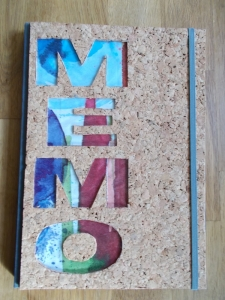 Kladde A4 Hardcover Notizbuch ♥ MEMO Kork bunt - Handarbeit kaufen