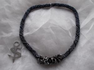 Halskette  Perlenkette Glasperlen Rocailles ♥ Middle Hematite Metallic anthrazit schwarz