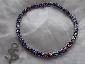 Halskette  Perlenkette Glasperlen Rocailles ♥ Mixed Mettalic bunt - Handarbeit kaufen