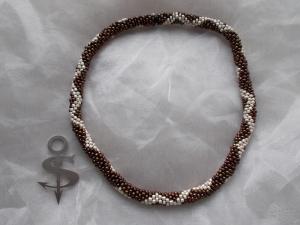 Halskette  Perlenkette Glasperlen Rocailles ♥ ZickZack perlmut braun - Handarbeit kaufen