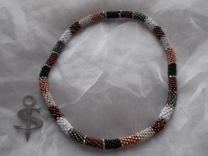 Halskette  Perlenkette Glasperlen Rocailles ♥ Nature Stripes  erdfarben silber - Handarbeit kaufen