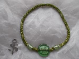 Halskette  Perlenkette Glasperlen Rocailles ♥ Big Green Silver Lagenlook metallic grün - Handarbeit kaufen