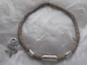 Halskette  Perlenkette Glasperlen Rocailles ♥ Big White Silver  Lagenlook metallic kristall  - Handarbeit kaufen