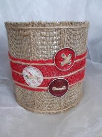 Blumentopf Übertopf Tischeimer Geldgeschenk ♥ PALERMO Nespresso Kapseln Jute rot - Handarbeit kaufen