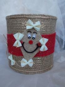 Blumentopf Übertopf Tischeimer Geldgeschenk ♥ Happy Dragon Klemmdrache Jute rot beige - Handarbeit kaufen