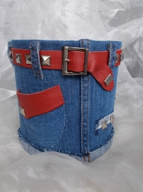 Blumentopf Übertopf Tischeimer Geldgeschenk ♥ HOT JEANS  Jeans + echt Leder rot blau