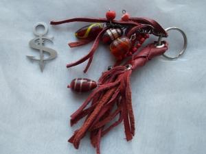 Schlüsselanhänger Schmuckanhänger Schlüsselring echt Leder ♥ Pretty Pearls weinrot