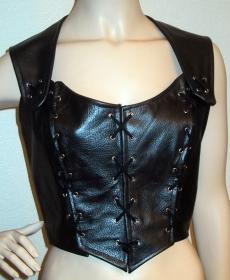 Damen Corsage Oberteil Top ♥ Rindsleder schwarz Metallic genäht und geöst Larp - Handarbeit kaufen