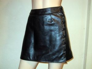 Damen Rock Unterteil Minirock ♥ Rindsleder schwarz Metallic genäht und geöst Larp  - Handarbeit kaufen