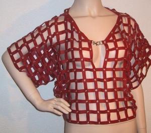Damen Oberteil Top ♥ Rindsleder Ledernetzhemd rot geöst Larp  - Handarbeit kaufen