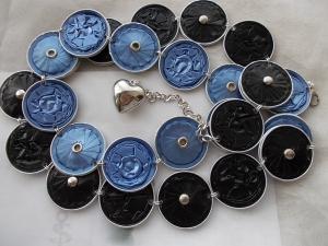 Gürtel ♥ Wendegürtel hellblau schwarz Nespresso - Kapsel Schmuck upcycling  - Handarbeit kaufen