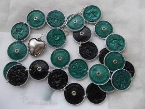 Gürtel ♥ Wendegürtel grün schwarz Nespresso - Kapsel Schmuck upcycling - Handarbeit kaufen
