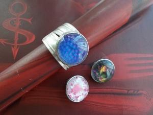 Besteckschmuck Ring 03 ♥ Ring Set 4 teilig Größe 58 / 59 Druckknopf Cabochon switch push button - Handarbeit kaufen