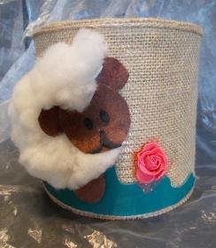 Blumentopf Übertopf Tischeimer Geldgeschenk ♥ Happy brown Sheep  Jute  beige Ostern - Handarbeit kaufen