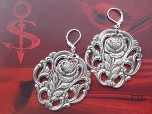 Besteckschmuck Ohrring Ohrschmuck ♥   Ohrhänger *Rose*   - Handarbeit kaufen