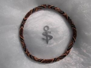 Halskette  Perlenkette Glasperlen Rocailles ♥ Raute beige braun schwarz  - Handarbeit kaufen