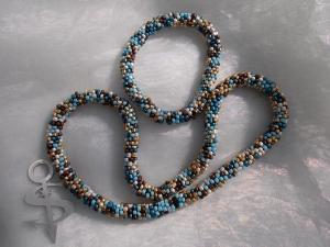 Schmuckset = Halskette & Armband Perlenkette Glasperlen Rocailles ♥ *Salz & Pfeffer* hellblau-gold-braun - Handarbeit kaufen