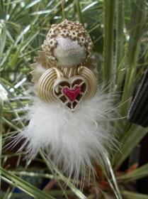 Engel ♥ 3 x Engel im Set Glücksbringer Schutzengel goldfarben Weihnachtsengel - Handarbeit kaufen