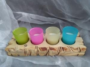 Kerzenhalter Teelichthalter Kerzentablett  ♥  * Regenbogen * aus  Palettenholz und Glas - Handarbeit kaufen