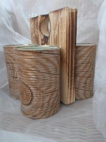 Besteckhalter Stiftehalter Aufbewahrung  ♥  * Wood * aus  Holz und Konservendosen - Handarbeit kaufen