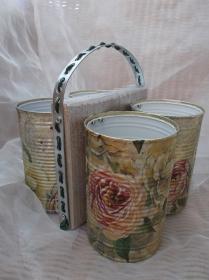 Besteckhalter Stiftehalter Aufbewahrung  ♥  * Rosengarten * Shabby Chic aus  Holz und Konservendosen - Handarbeit kaufen