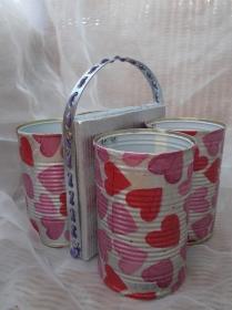 Besteckhalter Stiftehalter Aufbewahrung  ♥  * Herz* aus  Holz und Konservendosen - Handarbeit kaufen