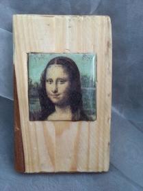 Holzbild mit Fliese   ♥  * Mona Lisa * aus  Palettenholz und handgefertigter Fliese - Handarbeit kaufen