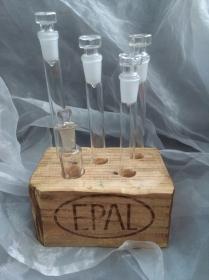 Reagenzglashalter Reagenzglasständer Tablett  ♥  *Reagenz-EPAL * aus einem Palettenklotz und antiken Reagenzgläsern mit Glas-Verschluss - Handarbeit kaufen