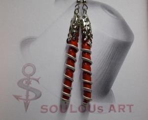 Ohrhänger ♥ Spirale  rot silber Nespresso - Kapsel Schmuck upcycling  - Handarbeit kaufen