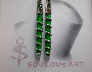 Ohrhänger ♥ Spirale  grün silber Nespresso - Kapsel Schmuck upcycling - Handarbeit kaufen