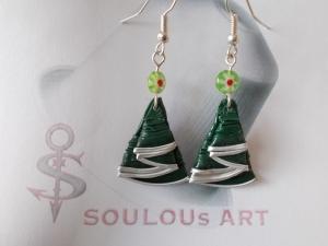 Ohrhänger ♥ Tannenbaum grün Weihnachtsbaum Flora Nespresso - Kapsel Schmuck upcycling   - Handarbeit kaufen