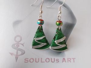 Ohrhänger ♥ Tannenbaum grün Weihnachtsbaum Metal Nespresso - Kapsel Schmuck upcycling   - Handarbeit kaufen