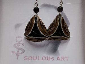 Ohrhänger ♥ 3D braun schwarz silber Nespresso - Kapsel Schmuck upcycling - Handarbeit kaufen