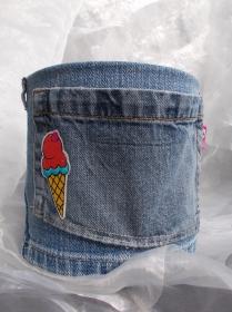 Blumentopf Übertopf Tischeimer Geldgeschenk ♥ Icecream Jeans trifft auf Konservendose - Handarbeit kaufen