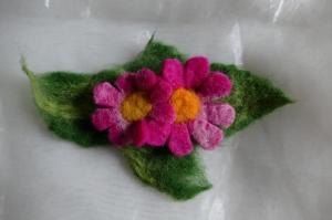 Haarspange gefilzt ♥ Haarspange Pink Flower Haarschmuck - Handarbeit kaufen