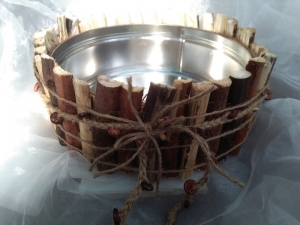 Blumentopf Übertopf Tischeimer Schale ♥ Wood Feige Holz flach braun - Handarbeit kaufen