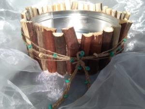 Blumentopf Übertopf Tischeimer Schale ♥ Wood Feige Holz flach türkis - Handarbeit kaufen