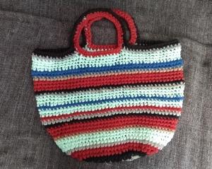Tasche Shopper Einkaufstasche Strandtasche Häkeltasche ♥ Häkeltasche - *Shirt-Shopper* rot blau türkis grau schwarz - Handarbeit kaufen