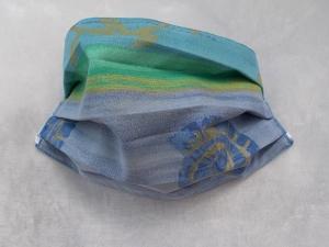 Behelfs-Mundschutz Maske Baumwolle waschbar genäht Nasenbügel Gummischlaufen *Blue Ocean*