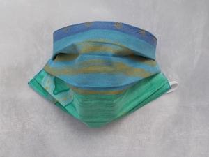 Behelfs-Mundschutz Maske Baumwolle waschbar genäht Nasenbügel Gummischlaufen *Blue Ocean II*  (Kopie id: 100228894)
