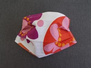 Behelfs-Mundschutz Maske Baumwolle waschbar genäht Nasenbügel Gummischlaufen *Flower Power  IIV*
