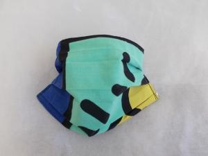 Behelfs-Mundschutz Maske Baumwolle waschbar genäht Nasenbügel Gummischlaufen *PopArt V*